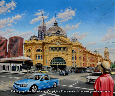 Flinders Street Train Station Melbourne Painting by Peter Gerasimon