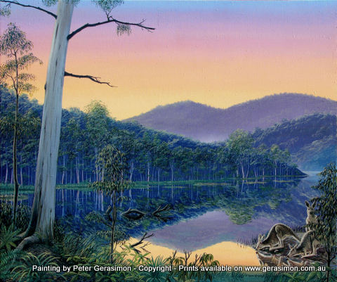 After the Rains Landscape oil painting with kangaroos by Peter Gerasimon