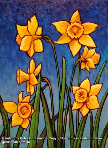Daffodils Painting by Peter Gerasimon