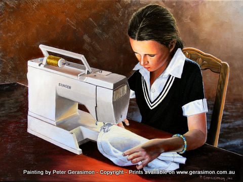 Girl with Sewing Machine Painting by Peter Gerasimon