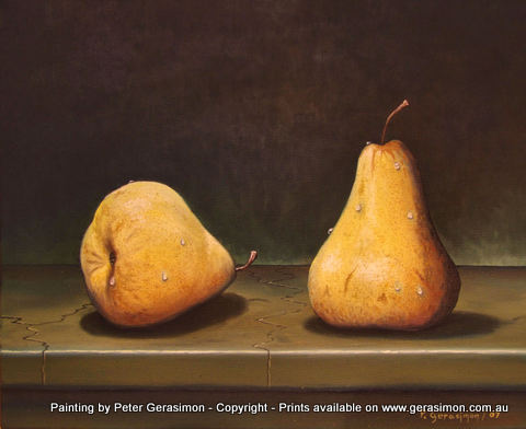 Pear Study One painting by Peter Gerasimon