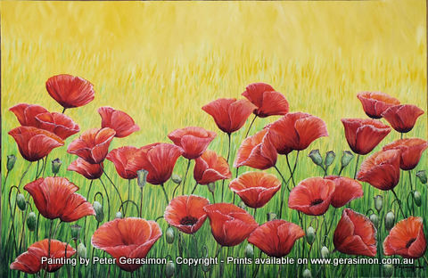 Red Poppies Oil PAinting by Peter Gerasimon