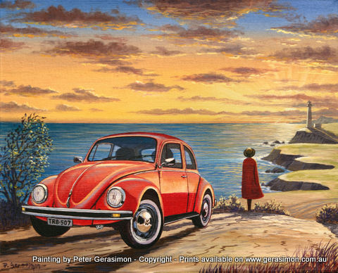 Volkswagen Landscape Painting Red Car Painting by Peter Gerasimon