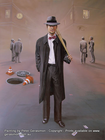 The Debt Collector Painting Surrealism by Peter Gerasimon